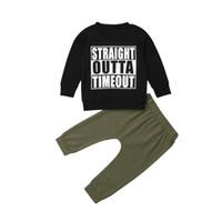 ca32e715ed70 Vestiti del neonato per bambini ragazzi 2019 lettere di moda stampa cotone  magliette t-shirt verde militare pantaloni lunghi abiti abiti