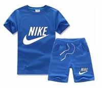 ingrosso vestiti sportivi dei neonati-Abbigliamento per bambini stile di trasporto libero per ragazzi e ragazze tuta sportiva bambino manica corta vestiti bambini 2018 caldo