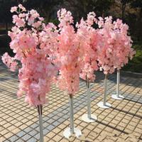 fleurs de cerisier achat en gros de-Coloré Artificielle Arbre De Fleurs De Cerisier Colonne Romaine Route Route De Mariage Centre Commercial Ouvert Les Accessoires Fer Art Fleur Portes 36yl gg