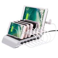 cargador multi para tabletas al por mayor-Estación de carga USB de 6 puertos inteligentes Base de escritorio universal Cargador rápido Centro de dispositivos múltiples Base de carga para iPhone, iPad, Galaxy, tableta
