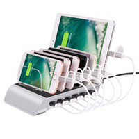 Wholesale universal tablet charging station - Smart 6 Port USB Charging Station Universal Desktop Fast Charger Smartphone Multi-Device Hub Charging Dock for iPhone, iPad, Galaxy, Tablet