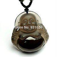 Wholesale carved buddha jewelry - Beautiful Handwork Ice Clear Natural Obsidian Carved Laughing Buddha Lucky Amulet Pendants free Necklace Fashion Jewelry