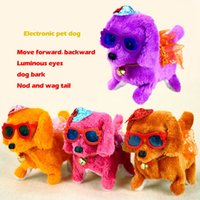 Wholesale battery operated toy dogs resale online - Electronic plush toys dog Pets Hot Selling New Fashion Walking Barking Toy High Quality Funny Electric Short Floss Dog