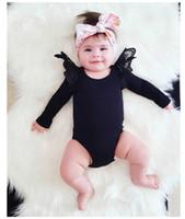 детские боди черные белые оптовых-Принцесса девочка хлопок боди с длинным рукавом Ангел крыло младенца белый черный девушки одежда s тела fille Мения одежда