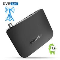 dvb t2 caixa de tv inteligente venda por atacado-Android Inteligente TV Box com DVB T2 / T Amlogic S905D Núcleo Quad Android7.1 TVbox Terrestre Receptor 1 GB 8 GB Suporta Wi-fi M8S Mais DVB Mais Novo