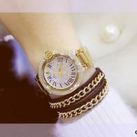 uhr kleid voller diamant großhandel-2018 Sommer Frauen voll Strass Uhren Österreich Kristall Diamant Stein Uhr große Zifferblatt Kleid Uhren Edelstahl Armbanduhr
