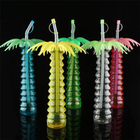 Wholesale green plastic straws for sale - Group buy Hot sale high quality creative plastic straw cup ml drink cup coconut tree modeling water cup T3I0260