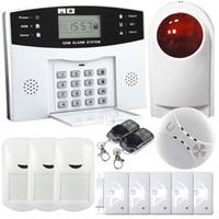 mavi lcd çalar saat toptan satış-Safearmed®Kablosuz Akıllı GSM Ev Güvenlik Alarm Sistemi Zaman Saati ve Alarm Durumu Ekranı ile Mavi LCD Ekran