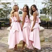 Wholesale pink wedding dress big size for sale - Pink Strapless High Low Bridesmaid Dresses Cute Satin Maid Of Honor Big Bow Pockets White Wedding Guest Dresses