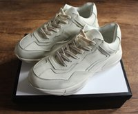 e1a5f93d3d7 Fashion Rhyton leather sneaker for men women best luxury sport designer  shoes real leather thick sole original box big size 35-46.