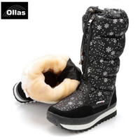 Wholesale lovely leather black boots online - Ollas boots fashion women winter lovely platform winter warm snow boots waterproof plus size shoes woman YS0676