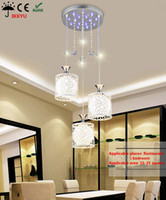 Wholesale Glass Wrought Iron Chandelier - Chandelier creative personality glass restaurant three round shade simple modern art LED fashion wrought iron lamp