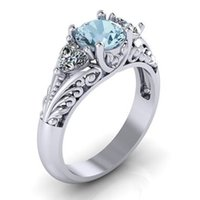 Wholesale Austrian Crystals Rings - Austrian Crystals Ring silver Color Flower blue crystal Ring bague Engagement anillos anel Rings for Women wedding ring 080296