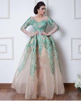 Wholesale strapless dress straps - Vintage Arabic Dubai Evening Dresses Formal Ball Gowns Sheer Long Sleeves Hunter Green Appliques Pageant Celebrity Gowns Prom Dress