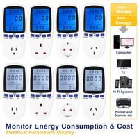 enchufe voltaje digital al por mayor-Medidor de energía digital Watt Voltage Monitor Analizador de monitor de potencia Voltímetro de vatio Azul Backlight blanco EU / AU / US / UK Plug
