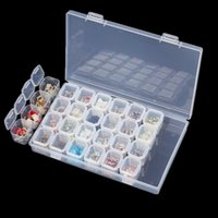 gemalte schmuckschatullen großhandel-28 gitter schmuckschatullen transparent diamant malerei leere aufbewahrungsbox kreuzstich mini case für zuhause 3 7px xb