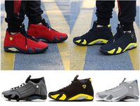 Wholesale Cheap Size 14 Basketball Shoes - High quality 14 Fusion Varsity Red Suede Thunder Black XIV Playoffs men basketball shoes 14s cheap sports sneakers US size 8-13