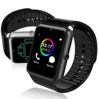 ios için akıllı duvar kağıdı toptan satış-Android Akıllı Telefonlar Için GT08 Akıllı İzle Bluetooth Smartwatches SIM Kart Yuvası Perakende Kutusu ile Android için NFC Sağlık İzler