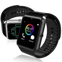 nfc uhr großhandel-GT08 Smart Uhr Bluetooth Smartwatches für Android Smartphones SIM Kartensteckplatz NFC Gesundheit Uhren für Android mit Kleinkasten