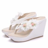 2cd5584375f Wholesale white high platform flip flops online - New Bohemia style beach  slippers for women flowers
