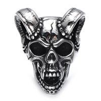 Wholesale Gothic Wedding Ring Men - Lujoyce Punk Gothic Casting Evil Damn Vampire Goat Head Bone Ring Titanium Stainless Steel Skull Ring for Men Jewelry