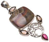925 rosa topas anhänger großhandel-Natürlicher Drache Septarian, Rauchquarz Pink Topaz handgemachte indische 925 Sterling Silber Anhänger 2 3/4