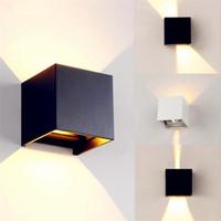 aluminium-würfel großhandel-Wasserdichte Cube COB LED Licht Wandleuchte Moderne Wohnraumbeleuchtung Dekoration Außenwandleuchte Veranda Gartenlampe Aluminium 7W AC 110V 220V