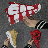 Wholesale Flax Medium - With box Air More Uptempo SUPTEMPO Mens Basketball Shoes PRM Premium 96 Flax Wheat Gold Metallic Tri-colour 3M Pippen Edition Men Sneakers