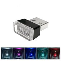 Wholesale car led angel light - Car USB LED Atmosphere Lights Decorative Lamp Emergency Lighting Universal PC Portable Plug and Play Red Blue White
