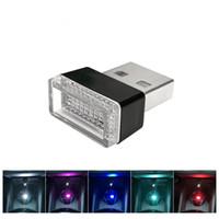 plugue do carro luzes led venda por atacado-Carro USB LED Luzes Atmosfera Decorativa Lâmpada de Iluminação de Emergência Universal PC Portátil Plug and Play Vermelho / Azul / Branco