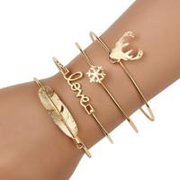 Wholesale Deer Bangle Bracelet - 4pcs Set Summer Trendy Gold boho Bangle Set Leaf Deer Snowflake Feather Love Letter Bracelet&Bangle For Women