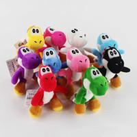 juguete de cosas yoshi al por mayor-Nueva Super Mario Bros Yoshi dinosaurio de juguete de felpa colgantes con llaveros muñecas rellenas para regalos 4 pulgadas 10 cm