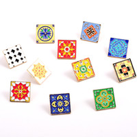 Wholesale tile accessories resale online - new style fashion jewelry accessories metal enamel square flower tile badge pin