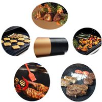 Wholesale outdoor grill kitchens - BBQ Grilling Mat Non-Stick BBQ Grill & Baking Barbecue Reusable PFOA Free Mat for Outdoor Camping Kitchen Tools with Opp Bags