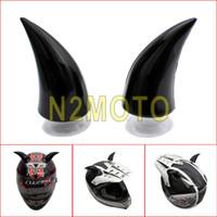 Wholesale helmet punk - 2x Black Motorcycle Helmet Devil's Horn Capacete Decoration Horns Cool Punk Universal
