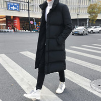 мужские длинные куртки parka оптовых-Mens Slim Fit Long Down Jacket Coat | 2018  New Male Casual Winter Down Parka Men Thick Down Jacket Overcoat Plus 4XL