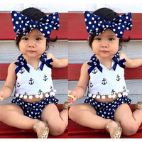 Wholesale baby girl anchor clothing - Hot sale cute baby girls clothes anchors tops+polka dot briefs+head band 3pcs set outfits suit top quality