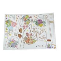 ingrosso adesivi della parete della pianta del fiore-Bonsai Piante da fiore in vaso Adesivo da parete Decorazioni per la casa Soggiorno Decalcomania Decor Finestra della cucina Adesivo in pvc 50 * 70cm 1pz