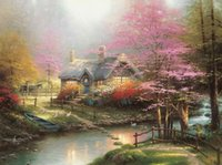 arte floral moderno al por mayor-Stepping Stone Cottage Thomas Kinkade Pinturas al óleo Art Wall Moderno HD Imprimir en lienzo Decoración Sin marco