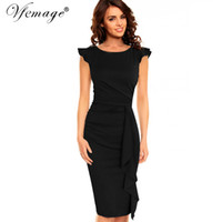Wholesale womens pink tunic for sale - Group buy Vfemage Womens Elegant Frill Ruffles Ruched Draped Vintage Retro Tunic Slim Work Business Casual Party Bodycon Pencil Dress D1891704