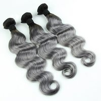Wholesale men hair wave resale online - LIN MAN B Grey Ombre Color Brazilian Human Hair Bundles Body Wave Remy Hair Extension Pieces Full End Fast Shipping