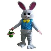 neues osterhasenmaskottchen großhandel-NEU Verkauf wie heiße Kuchen Professional Easter Bunny Maskottchen Kostüm Bugs Kaninchen Hase Ostern Adult Maskottchen