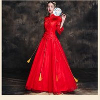 Wholesale lace qipao wedding dress for sale - Group buy Chinese Lace Wedding cheongsam Qipao Red Sexy Chinese bride Modern Chinese Traditional Wedding Dress Women Vestido Oriental Collars