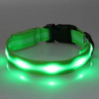personalisierte geführte hundehalsband großhandel-Coole LED Personalisierte Hund Nylon Flashing Glow New Pet Light Sicherheitshalsband 6 Farben Groß