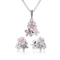 conjuntos de joyas al por mayor-Auténtica plata de ley 925 Esmalte rosa flor colgante collar pendiente conjunto con caja para joyería Pandora pendientes para mujer