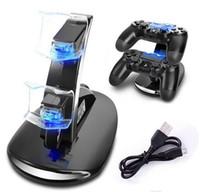 led para controlador ps4 venda por atacado-DUAL New chegada LED USB ChargeDock Docking Cradle Station Suporte para Sony Playstation 4 PS4 Game Controller Carregador sem fio