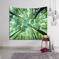 Wholesale forest bedding online - Green Large Trees Wall Hanging Tapestry Forest Landscape Farmhouse Wall Decoration Bed Bedspread Beach Blanket