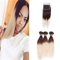 Wholesale Two Toned Lace Top Closure - Medium Brown Blonde Straight Hair Bundles with Lace Closure Two Tone 4 613 Ombre Brazilian Human Hair Weaves with Top Closure