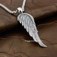 collier pendentif aile d'ange en argent sterling achat en gros de-Angel Bird Wing Feather 2-pendentif en argent massif 925 pendentif 8A008 (collier 24 pouces)