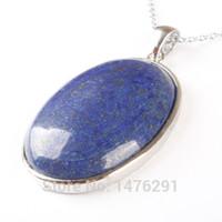 ovale lapisperlen großhandel-42X32MM Natürliche Lapis Lazuli Oval Perle Edelstein Anhänger 1 STÜCKE
